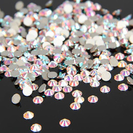 De Calidad superior Muy Brillante SS3-SS30 Cristal AB / Clear AB Pegamento de Cristal Fijo No Hotfix Flatback Rhinestone Nail Art Decoration Clothing DIY