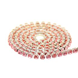 Light Rose Glass Rhinestones Silver Base Chains Copper Cup Claw Chain Non Hotfix Sew On Crystal Chaton DIY Wedding Dress Design