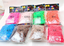 Al por mayor - bandas de silicona pulsera de la venda DIY de la muñeca del arco iris Telar Kit para niños (600 PC + 12 bandas S clips) bandas del arco iris del telar bandas de goma desde banda de goma al por mayor del kit de pulsera proveedores
