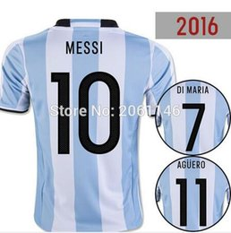Wholesale New Argentina soccer Jersey MESSI home DI MARIA AGUERO thai quality Argentina football shirt jersey
