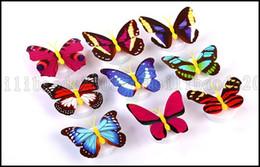 Noche de mariposa en Línea-La creatividad pegado mariposa colorida noche de la luz LED de ahorro de energía del dormitorio del bebé de noche decorativo iluminación de la lámpara