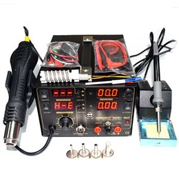 4in 1set 909D 853d+ 110V 220V Hot Air Gun Rework Station Soldering iron + Heat Gun + Power Supply Welding Repair Solder Station