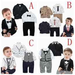 Wholesale 2016 gentleman baby boy clothes Bow ties rompers Jackets baby romper set newborn wedding suit Birthday party baby onesies BY DHL