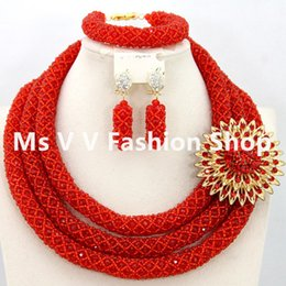 2019 new design Fabulous Red Nigerian Wedding Jewelry Set Costume African Beads Jewelry Sets crystal beads 18K Hot Free Shipping