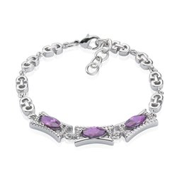 18K White Gold Plated Purple Zircon Infinity Bracelet For Women Partty Elegant Bracelet Birthday Anniversary Gift