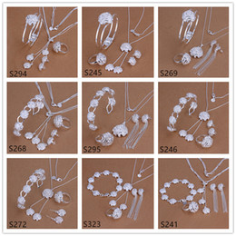 Wholesale 6 sets mixed style women s sterling silver jewelry sets fashion silver Necklace Bracelet Earring Ring jewelry set GTS40
