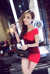 The new summer ladies fashion dress sexy color stripe knit slim slim package hip dress in summer