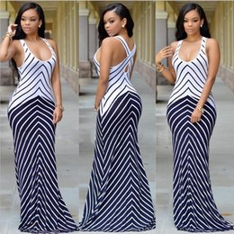 Wholesale Casual Night Long Dress - 2016 Women Summer Long Maxi Dress Casual Vestidos Sexy Bandage Bodycon Stretch Party Dresses Sling Stripes Boho Beach Dress