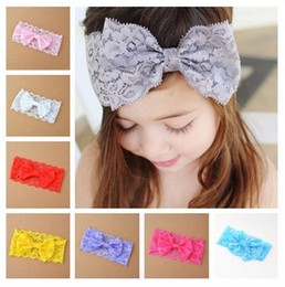 Europe Fashion Handmade Hair Band Children Lace Bowknot Headband Baby Girls Lace Hairband Hair Bows Kids Head Wrap Hair Accessories 11783