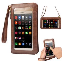 Descuento teléfonos celulares casos de cuero NUEVO caso de cuero de la pantalla táctil + bolso de Crossbody del hombro Crossbody + Wallet para el iPhone 5 5s SE 6 6s más 4 4s bolso de los teléfonos celulares