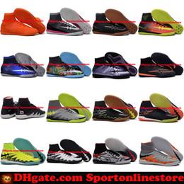 Wholesale Soccer Shoes Indoor IC MercurialX Proximo Elastico Superfly V Football Boots New Soccer Cleats For Men Scarpe Calcio Hypervenom Indoors JR