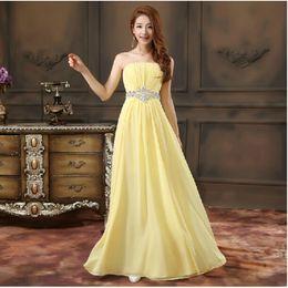 Crystal Waist Strapless Long Chiffon Bridesmaid Dress 2018 Pleated Floor Length Formal Dress For Wedding Party
