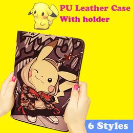 For Ipad Mini Case pikachu PU Leather Wallet Case Soft TPU Cover Case Kickstand Case For Ipad 2 3 Ipad Mini 2 3 4 With Retail Box PCC050