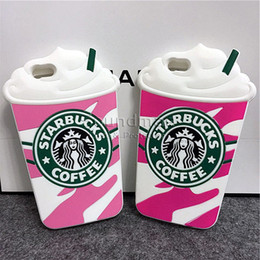 Wholesale Creative Starbucks Phone Case High Quality Silicone Cover For Iphone s Plus s SE Starbucks Coffee Ice Cream With Sucker OPPBAG