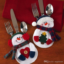 Christmas Cutlery Suit Christmas small snowman Knives and Forks Pockets Christmas Tree Ornament Christmas Decorations 8pcs set