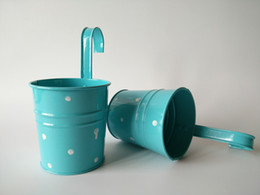 Wedding Buckets Blue Color Hanging Garden bucket tin box Iron pots Flower metal Planter with Dot design