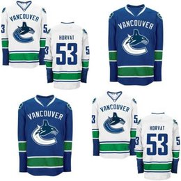 2016 New, MEN'S Vancouver Canucks #53 Bo Horvat (HOME BLUE AND ROAD WHITE) Hockey Jerseys,Embroidery logo,Authentic Jersey Accept Mix Order
