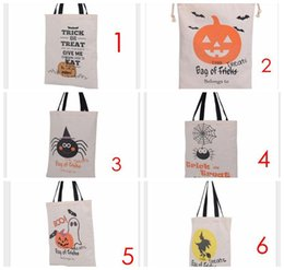 2016 Factory Sale Halloween Large Canvas bags cotton Drawstring Bag With Pumpkin, devil, spider, Halloween Xmas Gifts Sack Bags 6style