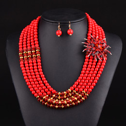 Newest nigerian wedding african beads jewelry sets crystal flower necklace for women 2015 new mixed color fine jewelry V070