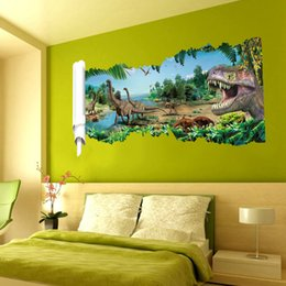 Wholesale 3D Removable Mural PVC Vinyl Wall Stickers Wall Decal for Home Office Decor dinosaur big mouth