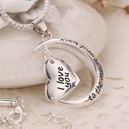 2016 Hot Thanksgiving Day Family Members Styles I Love You To The Moon and Back Heart Pendant Necklace fashion sweater chain Family Gift