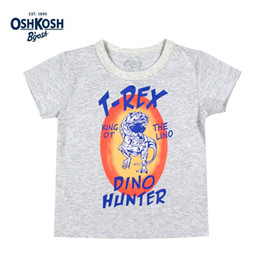 Wholesale OshKosh Baby T-shirts for Boys Dinosaur Cartoon Gray Brand Clothes for Children Summer Tees Kids T shirts Tops Boys 12M 2T 3T 4T