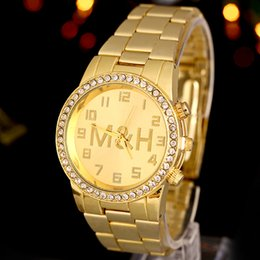 Gold Luxury Mens Brand New Stainless Steel Crystal Watches for Mens Business Casual Analog Quartz Watch