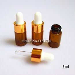 Wholesale ml Amber Glass Dropper Bottle cc Glass Vials With Gold Lid Latex for Perfume Essential Oil Bottles