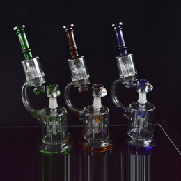 Wholesale Microscope Beaker Bong Glass Water Pipes quot inches Tall Rocket to UFO Perc Double Recycler Dab Oil Rigs Thick Glass Hookahs Pipes