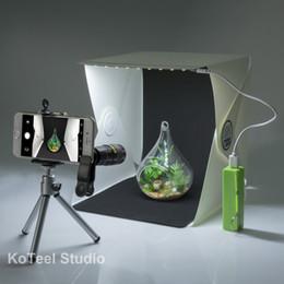 Wholesale KoTeel Mini Photography Studio Light Tent Light Room Light Box Kit with LED Lighting Two Background Black White Cell Phone Lens