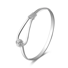 925 Sterling Silver Charm Cuff Bangle Bracelets Dolphin or Flower charm Bracelets Christmas Gift for Women