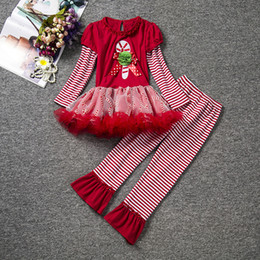 Wholesale Childrens Fall Outfits - 2016 brand Fashion Fall Childrens Girls Boutique Outfits Sets Christmas Santa Tutu Dress +Ruffle Legging Pants Sets Suits