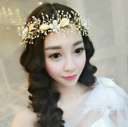 2016 Handmade Pearl Crystal Bridal Headband Tiara Wedding Hair Accessories Top Quality Elegant Flower Leaf Headpiece