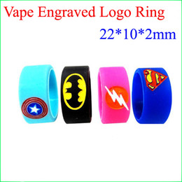 Wholesale Superman Batman Captain America Flash Silicone Vape Band Engraved Logo Silicon Beauty Decorative Ring For RTA RDA Vapor Mods DHL free to USA