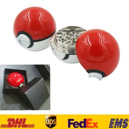 Wholesale 55MM New Poke PokeBall Manual Grinder Parts Smoking Cigarette Alloy Machine E cig Accessories Grinding Detector Gifts With Box Bag HH A01