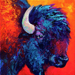 Giclee bison-attitudeoil painting arts and canvas wall decoration art Oil Painting on Canvas longhorn steer marion rose MRR023