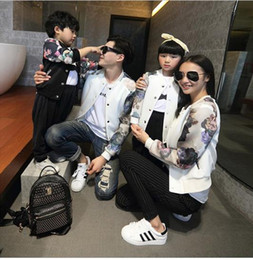 Wholesale Mother and Daughter jacket clothes New fashion family matching floral printed baseball jackets clothing for mother father boy girl
