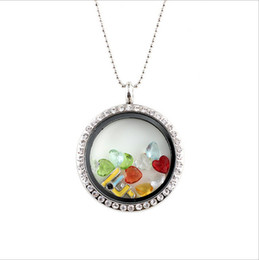 Wholesale mm Rhinestone Round Locket With Floating Birthstone Charms Glass living Memory Locket Pendant Necklace
