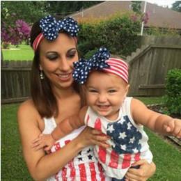 Girls American flag hair band head hoop baby girl children hair accessories baby hair hoop with big bow kids sticks clips