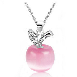 Wholesale 2016 New Hot cat eye apple pendant necklace white pink female pure silver jewelry design fashion necklaces pendants pendants necklace