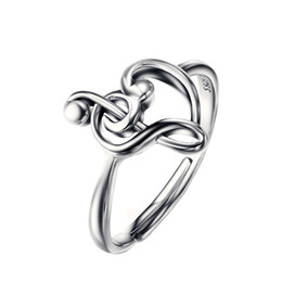 Wholesale 100 Pure Sterling Silver Jewelry Treble Clef Bass Heart Ring Musical Note Jewelry Elegance Ring For Women