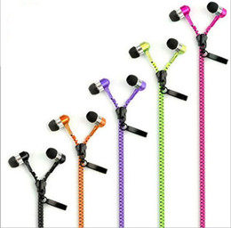 High Quality Stereo Bass Headset In Ear Metal Zipper Earphones Headphones with Mic 3.5mm MP3 For Free Shipping
