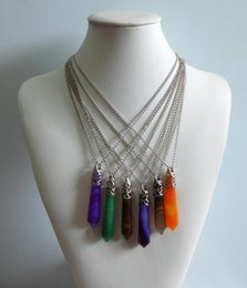 Wholesale hot sell Women Natural stone jade Agate Pendant Necklaces jewelry mixed color manufacturers N11