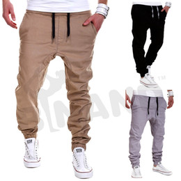 Wholesale Mens Fashion Joggers Pants Trousers Men Sport Pants Casual Solid Pants Jogging Sweatpants Jogger Khaki XXXL L209 M