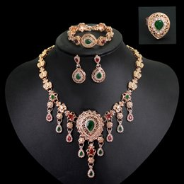 Vintage High Quality Jewelry Set 18k Gold Plated Necklace Earrings Sets For wedding bridal party Jewelry CA108