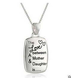The Love Between Mother And Daughter Gold Silver Plated Pendant Statement Square Box Chain Statement Necklaces