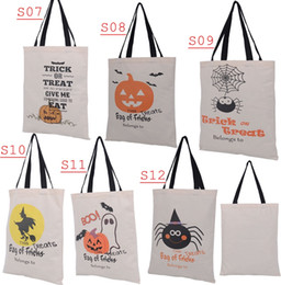 14*19inch New 6style Choose Free Halloween Hand bag Canvas bags cotton Drawstring Bags Pumpkin devil spider Hallowmas Gifts Sack Bags