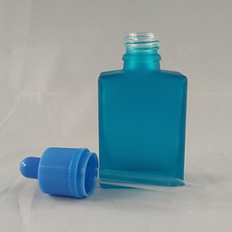 15ml DHgate wholesale frosted blue glass flat square bottle Electronic ciggarette dropper bottle e juice empty bottle with childproof cap