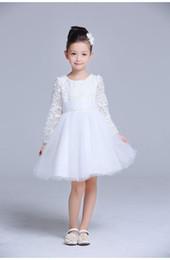 2016 Brand New Flower Girl Dresses White Real Party Pageant Communion Dress Little Girls Kids Children Dress for Wedding