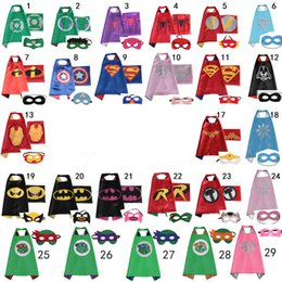 Wholesale kids capes kids Superhero Cape Super hero Ninja Turtles Batman Spiderman Captain America Supergirl kids capes with mask fast shipping